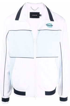 Coach Logo colour-block bomber jacket