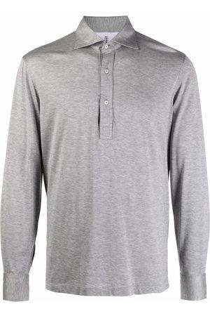 Brunello Cucinelli Melange-effect polo shirt - Grey