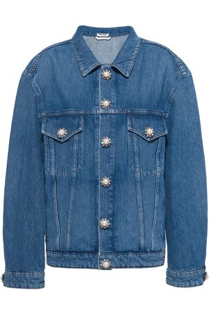 Miu Miu Women Denim Jackets - Embellished-button denim jacket