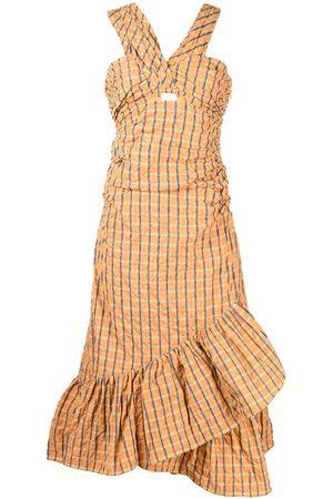 Cinq A Sept Plaid-check ruched dress