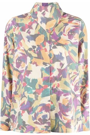 Kenzo Abstract-print high-neck blouse - Neutrals
