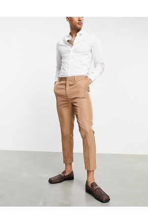 ASOS Tapered suit pants in camel tonic-Neutral