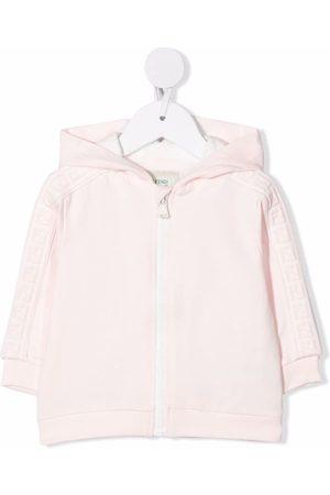 Fendi Kids FF-striped zip-up hoodie