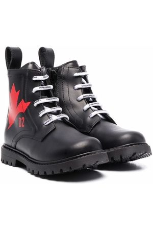 Dsquared2 Maple-leaf print leather boots