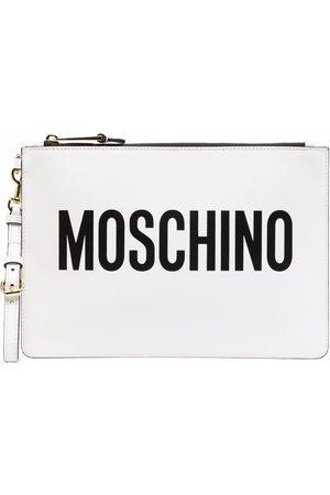 Moschino Logo-print leather clutch bag