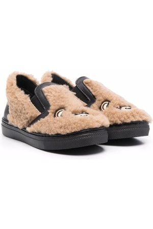 Moschino Signature teddy shearling slippers - Neutrals