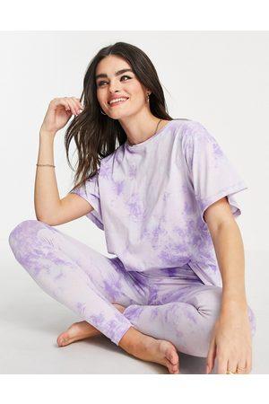 ASOS Tie dye tee & legging pajama set in blue & lilac-Multi