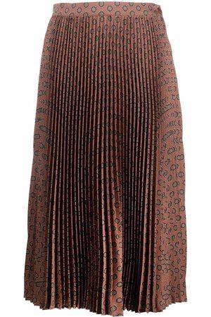Etro Women Printed Skirts - Abstract-print pleated midi skirt