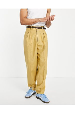 ASOS High waist slim smart pants in mustard linen