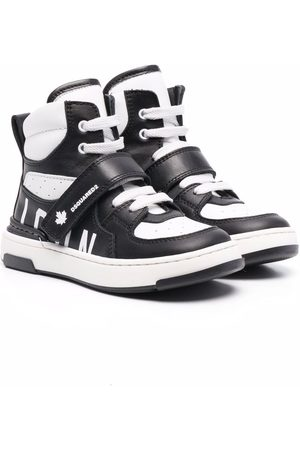 Dsquared2 High-top panelled leather trainers