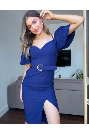 Little Mistress Off shoulder puff sleeve belted pencil dress with split in navy