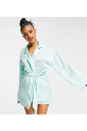 Missguided Satin robe with embroidered logo in mint