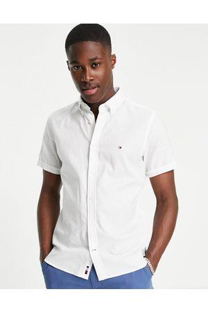 Tommy Hilfiger Icon logo short sleeve slim fit travel oxford shirt in