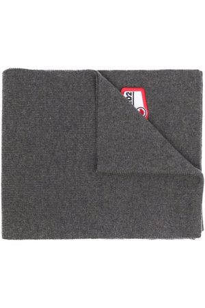 Dsquared2 Logo-patch ribbed-knit scarf - Grey