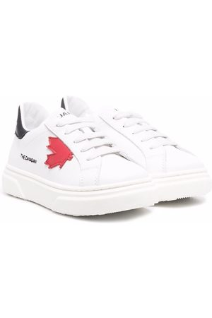 Dsquared2 Maple-leaf leather trainers