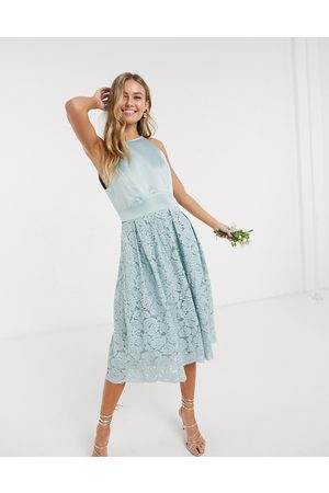 Oasis Bridesmaid lace skater dress in mint