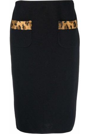 Moschino Leopard-trim skirt