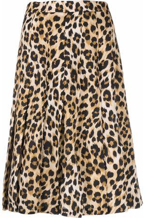 Moschino Leopard-print pleated skirt - Neutrals