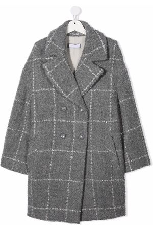 MONNALISA TEEN check-print coat - Grey