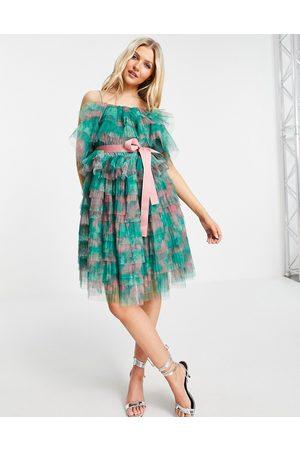 Forever U Tiered off shoulder mini dress in