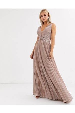 Forever Unique Pleated plunge maxi dress in rose