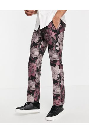 Twisted Tailor Suit pants in black and floral jacquard