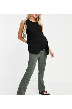 ASOS Women Bump Bands - ASOS DESIGN Maternity low rise utility flare in khaki with over the bump band