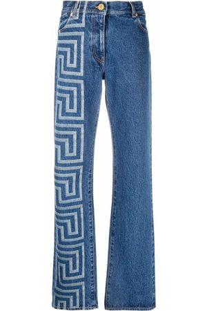 VERSACE Greca-print bootcut jeans