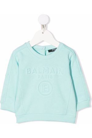 Balmain Embossed-logo cotton sweatshirt