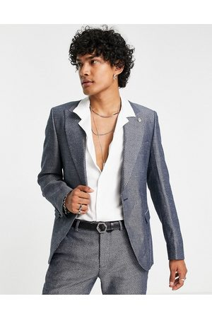 Twisted Tailor Suit jacket with micro geo jaquard in and white