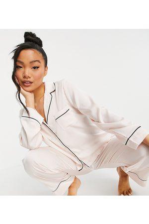 ASOS ASOS DESIGN Petite satin long sleeve shirt & pants pajama set in pink