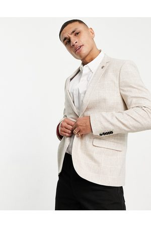 Twisted Tailor Suit jacket in window pane check stone-Neutral