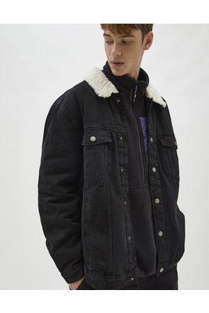 Pull&Bear Denim trucker jacket with teddy collar in