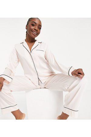 ASOS ASOS DESIGN Tall satin long sleeve shirt & pants pajama set in pink