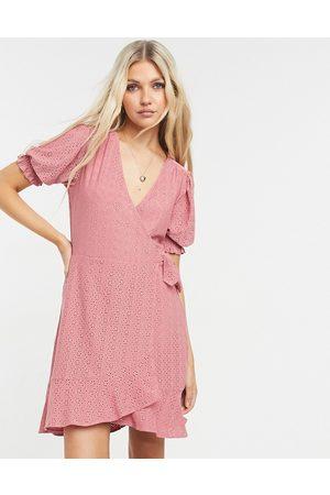 Oasis Eyelet wrap skater dress in dusky