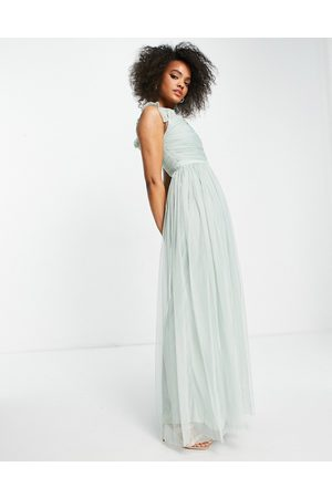ANAYA With Love off the shoulder ruffle sleeve maxi dress in misty green tulle