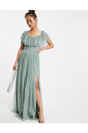 Maya Cold should embellished maxi dress in