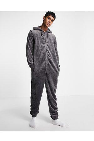 ASOS Fleece onesie in charcoal-Grey