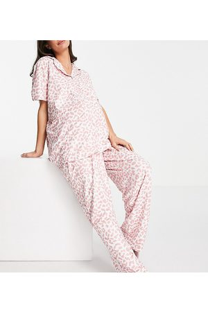 Loungeable Maternity Plus long pajama set in pink leopard-Multi