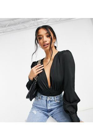 Missguided Plunge bodysuit with covered buttons in