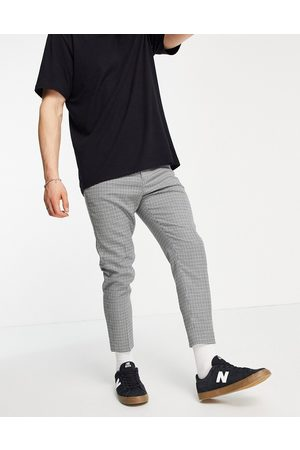 ASOS Tapered cropped suit pants in library check-Grey