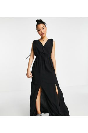 ASOS Petite recycled gathered detail maxi beach dress in