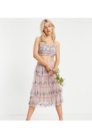 Maya Embellished tiered midi skirt in frosted - part of a set