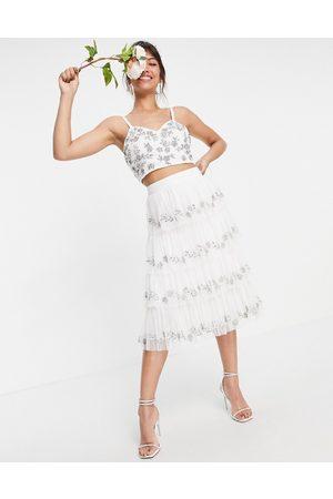 Maya Set embellished tiered midi skirt in