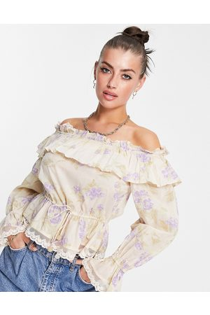 River Island Women Long sleeves - Floral frill long sleeve bardot top in peach