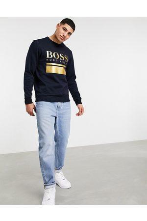 HUGO BOSS Salbo set 1 large logo slim fit sweatshirt in navy/ gold SUIT 2