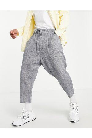 ASOS Drop crotch pants in lightweight textured fabric-Navy