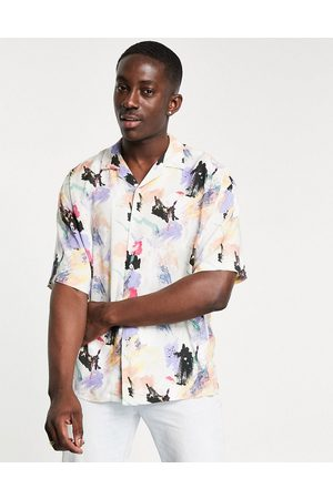 Pull & Bear Shirt with paint print in white