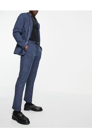 ASOS Slim soft tailored jersey suit pants in navy wide twill and drawstring waist-Blues