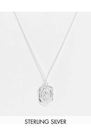 ASOS Sterling skinny neckchain with religious pendant in